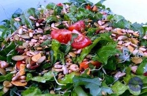 summer greens with spicy nuts