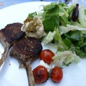 dukkah crusted lamb cutlets with hommus and salad