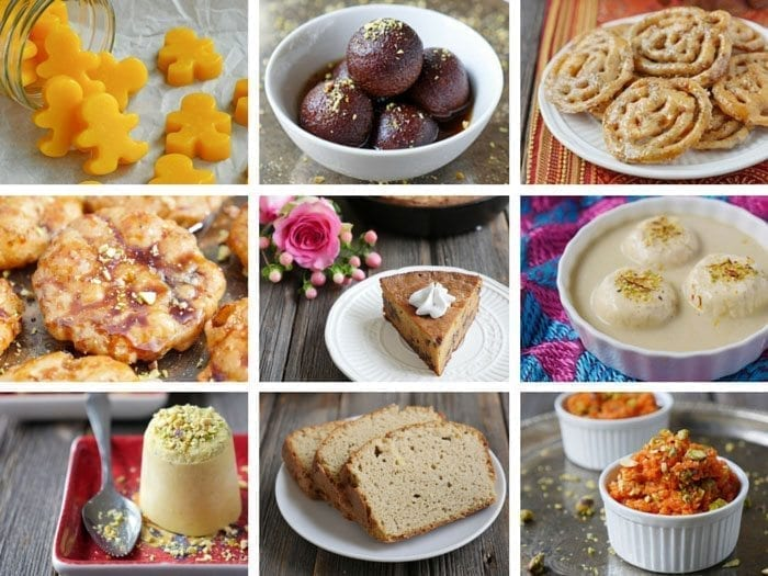 a collection of spcy indian desserts