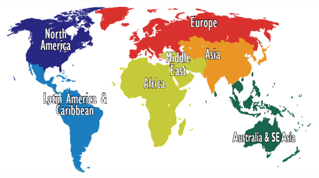 6 major cuisines of the world in a map