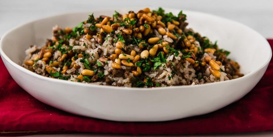Lebanese Baharat Beef-Loaded Rice (Hashweh)
